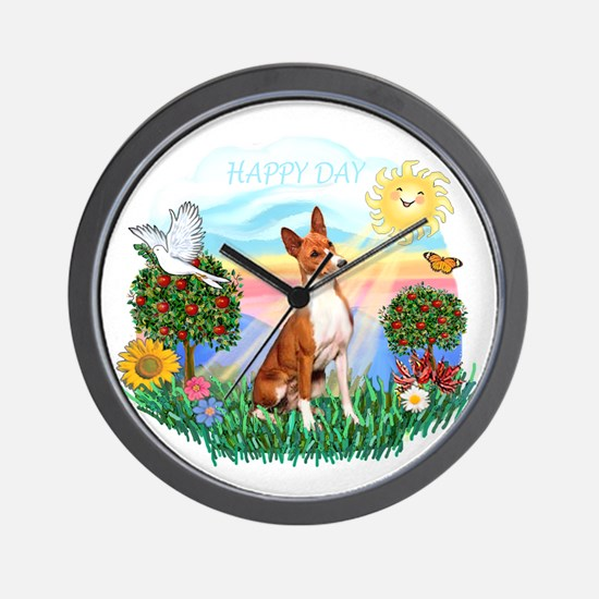 Happy Day Basenji Wall Clock