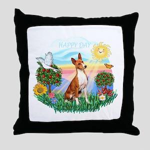 Happy Day Basenji Throw Pillow