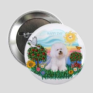 "Happy Day Bichon Frise 2.25"" Button"