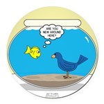 Bird in a Fishbowl Round Car Magnet