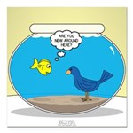 Bird in a Fishbowl Square Car Magnet 3