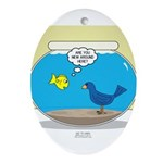 Bird in a Fishbowl Oval Ornament