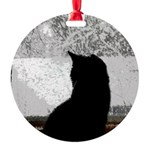 Cat Winter Round Ornament
