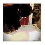 Tuxedo Kitty with Sink Tile Coaster