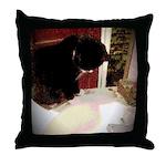Tuxedo Kitty with Sink Throw Pillow