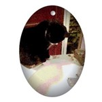 Tuxedo Kitty with Sink Oval Ornament