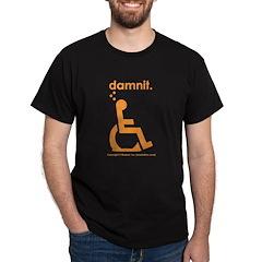 damnit.wheelchair Black/Orange T-Shirt