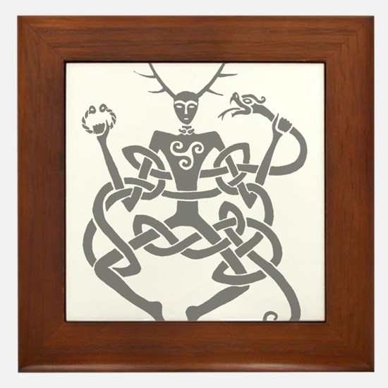 Grey Cernunnos Framed Tile