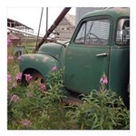 Farm Truck with Flowers Square Car Magnet 3
