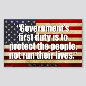 REAGAN: Government's first duty... QUOTE Sticker (