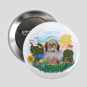 "Happy Day Shih Tzu (P) 2.25"" Button"