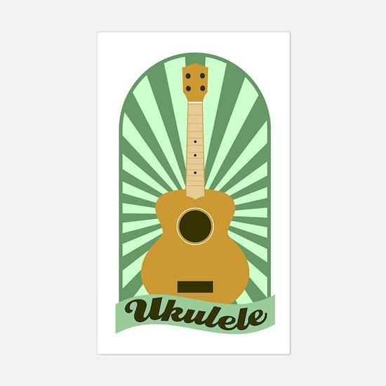 Green Sunburst Ukulele Sticker (Rectangle)