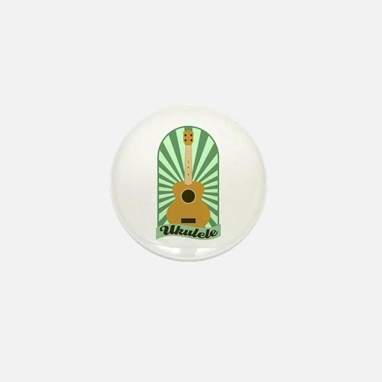 Green Sunburst Ukulele Mini Button