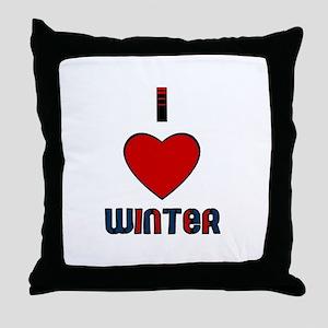 I LOVE WINTER  Throw Pillow