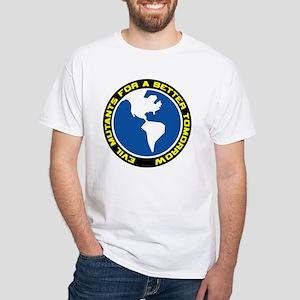 """Evil Mutants for a Better Tomorrow"" White T-Shirt"