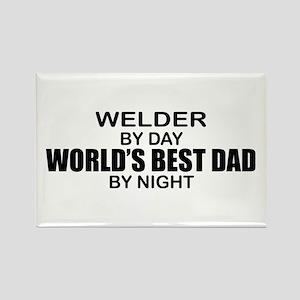World's Best Dad - Welder Rectangle Magnet