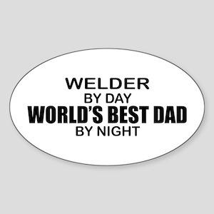 World's Best Dad - Welder Sticker (Oval)