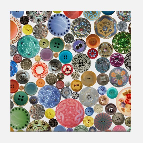 Button Collage Fun Stuff Tile Coaster