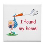 Baby Finds Home Tile Coaster
