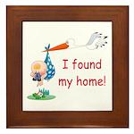 Baby Finds Home Framed Tile