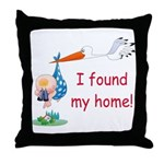 Baby Finds Home Throw Pillow