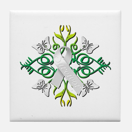 White Survivor Tile Coaster