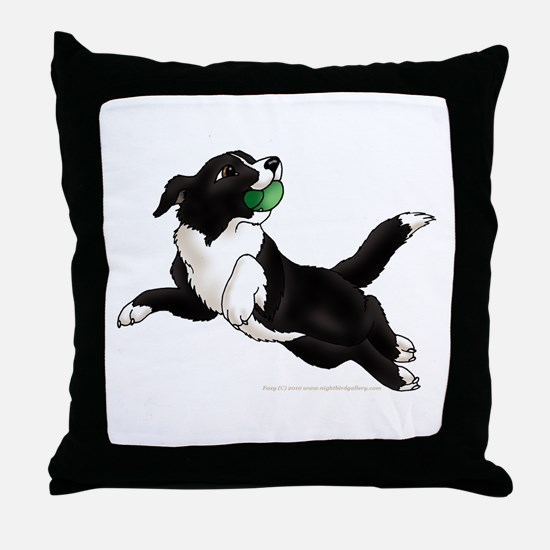 Border Collie Pup Throw Pillow