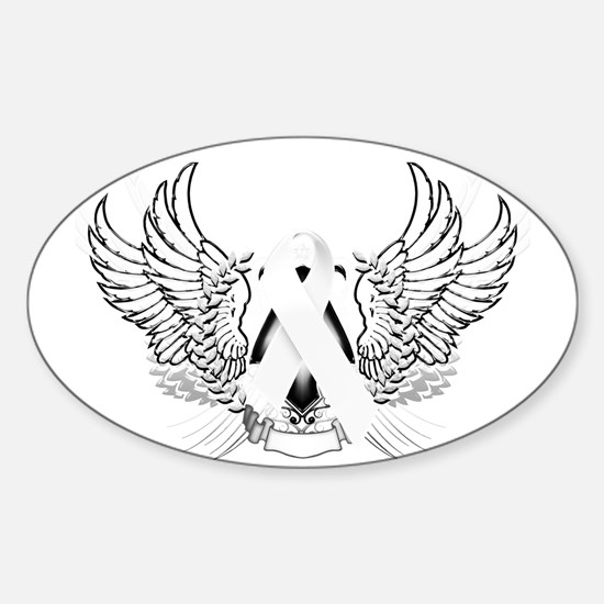 Awareness Tribal White Sticker (Oval)