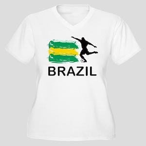 Brazil Football Women's Plus Size V-Neck T-Shirt