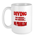 Diving - No Shirt, No Shoes, Large Mug
