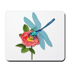 Dragonfly & Wild Rose Mousepad