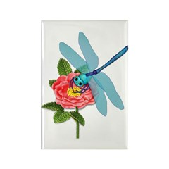 Dragonfly & Wild Rose Rectangle Magnet