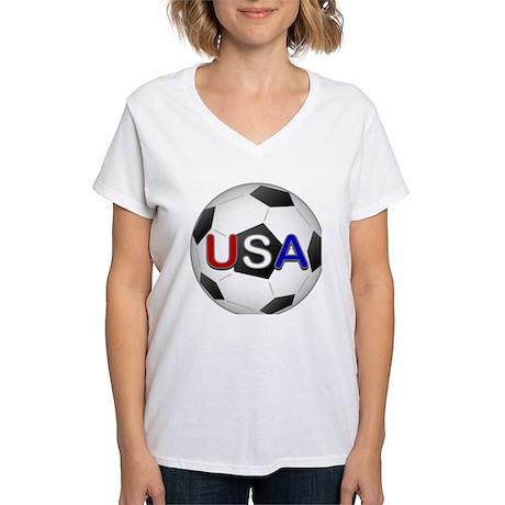USA Soccer Ball Women's V-Neck T-Shirt