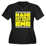 Made Divorce Women's Plus Size V-Neck Dark T-Shirt