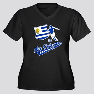 Uruguayan soccer Women's Plus Size V-Neck Dark T-S