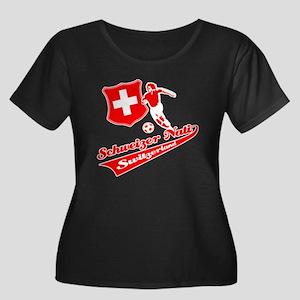 Swiss soccer Women's Plus Size Scoop Neck Dark T-S