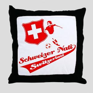 Swiss soccer Throw Pillow