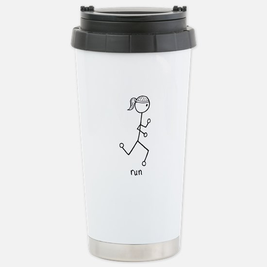 Running Girl Stainless Steel Travel Mug