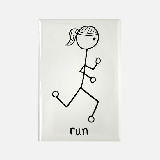 Running Girl Rectangle Magnet