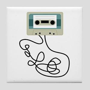 Loose Cassette Tape Loops Tile Coaster