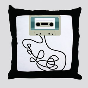 Loose Cassette Tape Loops Throw Pillow