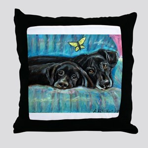 Portrait of Labs, Jade & Jasm Throw Pillow
