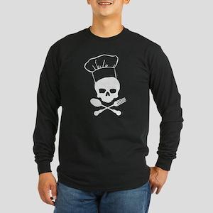 Skull & Crossbones Chef Long Sleeve Dark T-Shirt