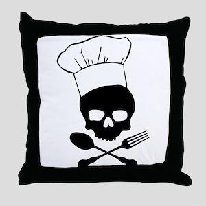 Skull & Crossbones Chef Throw Pillow