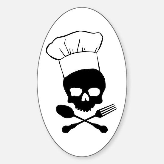 Skull & Crossbones Chef Sticker (Oval)