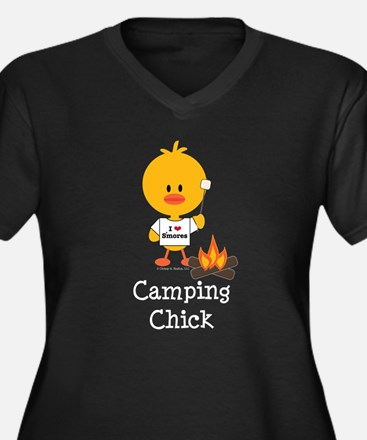 Camping Chick Women's Plus Size V-Neck Dark T-Shir