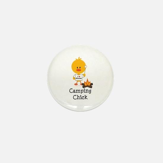 Camping Chick Mini Button