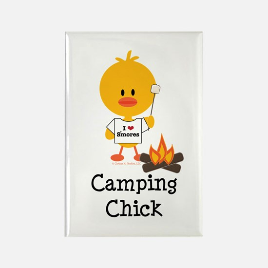 Camping Chick Rectangle Magnet (100 pack)