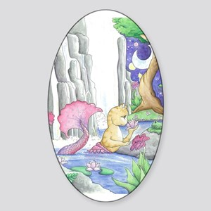 Water Garden - Mermaid Cat Sticker (Oval)