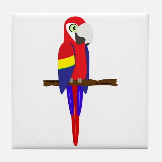 Green Wing Macaw Tile Coaster